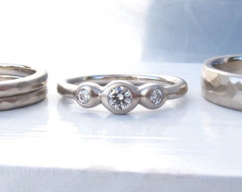 White gold and diamond wedding ring set, 3 stone engagement ring or anniversary ring, bezel set diamonds with 3 matching hammered bands