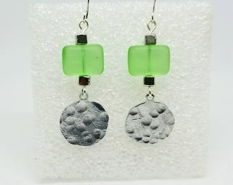 Matte green and silver hammered disc earrings