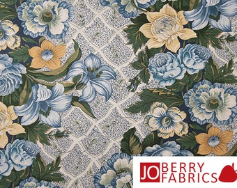 Large Blue and Yellow Floral Fabric, Circa 1825 by Sharon and Jason Yenter for In the Beginning Fabrics