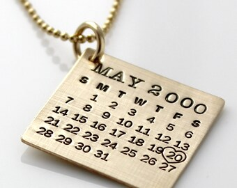Personalized Calendar Necklace - Gold Filled Mark Your Calendar Necklace hand stamped and personalized - brushed finish