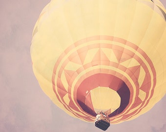 Hot Air Balloon - 8x10 photograph - fine art print - vintage photography - nursery art - purple sky - yellow balloon