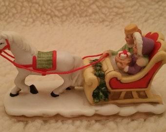 Lefton, Colonial, Village, Vintage, One Horse Open Sleigh, 6460,  1987, Hand Painted China, Figurines, Christmas, Collection,