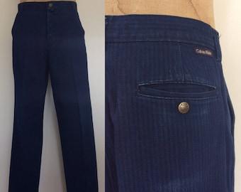 """1980's Calvin Klein Striped Dark Wash Denim Mens Pants Size 34"""" x 32"""" by Maeberry Vintage"""