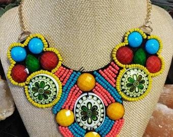 Boho multi color bead necklace