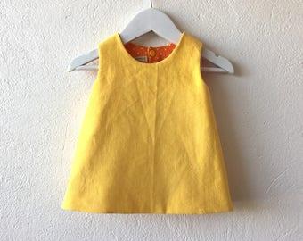 Baby girl reversible pinafore dress yellow corduroy dress