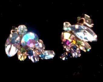 Vintage Weiss Rhinestone Earrings, Weiss Aurora Borealis Clip Earrings, Weiss Rhinestone Clip Earrings, Weiss Blue AB Rhinestone Earrings
