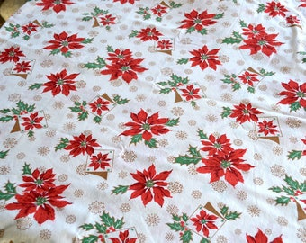 Vintage Christmas Tablecloth - Red Poinsettias on White - Long Size 70 x 122