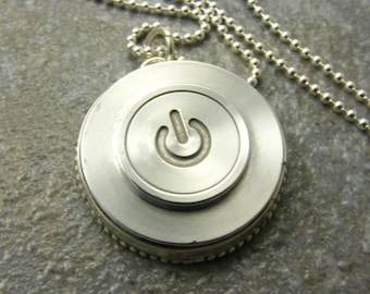 Sterling Silver, Recycled, Mac, Apple, Power Button, Necklace, Birthday, Gift, Made to Order, Unisex
