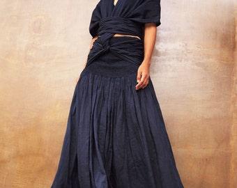Wrap maxi dress mix silk...1 dress 10 ways to wear (S-L)D1190