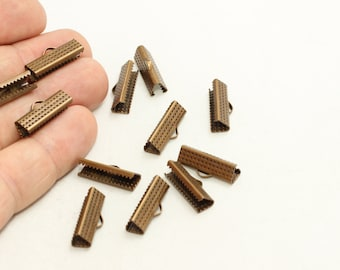 50 Pcs Antique Bronze Ribbon Crimp Ends (19mm) Fasteners Clasp, Ribbon Crimps , Bronze Ribbon Clasp , CLS7