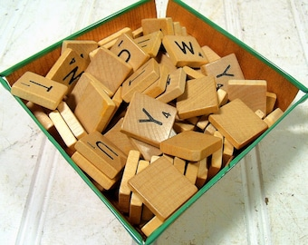 Scrabble Game Tiles T - Z Letter Tiles - Wooden T U V W X Y Z Pieces for Repurposing Upscaling Upcycling - Set of 60 Wood Tiles & Blanks