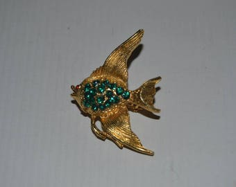 Vintage Gold Tone with Ruby and Emerald Rhinestones Angelfish Angel Fish Brooch