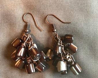 Cute Brown Cluster Earrings