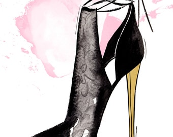 Digital Download - Watercolour fashion illustration Titled Gold Heel