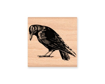 RAVEN Rubber Stamp~Halloween~Black Crow~North American Bird~Crafting and Card Making Supplies~Mountainside Crafts (34-31)