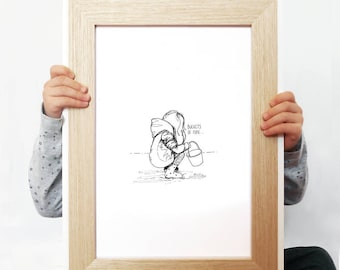 """PERSONALISED ORIGINAL ILLUSTRATION of a little girl playing in the sand. """"Buckets of Fun"""". Size A4 Print."""