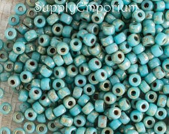 8/0 Turquoise Blue Picasso Matubo Seed Bead - 15 Grams - 2886 - Turquoise Blue Picasso 8/0 Czech Seed Bead