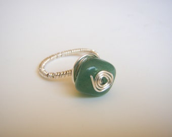 Aventurine Wire Wrapped Silver Ring Size 8