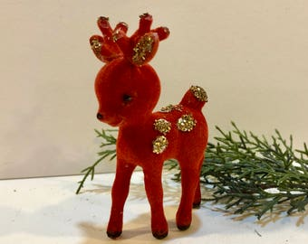 Vintage Red Deer, Glitter Gold Spots, Flocked Velvet, Plastic Reindeer, Christmas Ornament, 4 inches Tall, Hollow Plastic, Blow Mold, 1960s