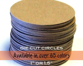 """30 Circle Tags in Kraft or ANY Cardstock Color . 1"""" or 1.5"""" diameter"""