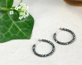Saturn - Pure titanium hoop earrings with hematite beads -  hypoallergenic earrings for sensitive ears