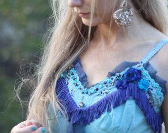 Blue burlesque dress, Blue Steampunk dress, Victorian dress, Pastel Blue beaded dress, Gypsy dress, Fringe dress, Tassel dress, Embroidered