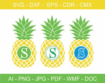 Decorative Pineapple Fruit Design, Pineapple Fruit Clipart, Cricut File, Cameo Silhouette file, Laser Cutting and Engraving, Vinyl Cutting