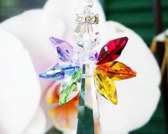 Guardian Angel Car Charm, Swarovski Crystal Suncatcher, Chakra Rainbow Rear View Mirror Hanging Crystals