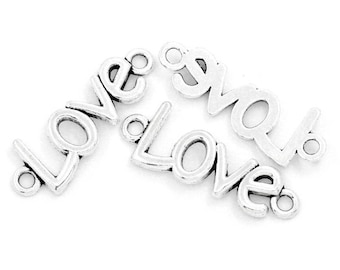 LOVE connector 36 mm x 14 mm bright silver metal (x 2)