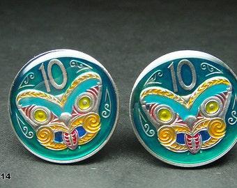 New Zealand coin cufflinks Maori Mask Koruru 23mm