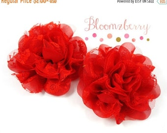 """ON SALE 30% OFF 3.5"""" Chiffon Lace Mesh Flower - Red Color - Red Chiffon Mesh Flowers -Christmas/Winter/Valentine - Hair Accessories Supplies"""