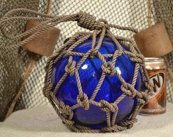 "Glass Fishing Float In Cobalt Blue 8"""