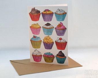 Cupcakes Greeting Card, Blank Card, Birthday Card, Thank You Card, Easter Card
