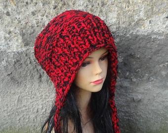 Slouchy Ear Flap Hat slouchy hat Knitted slouchy beanie Womens red black hat Split Brim Slouchy Beanie Women Accessories Winter Hat earflap