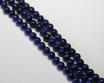 50 PCs Lapis Lazuli / gemstone beads / 4 mm / color: dark blue marbled  HE02-4
