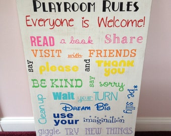 """Large Playroom Rules Sign, Typography Style Playroom Rules Sign, 24""""x36"""" Playroom Sign"""