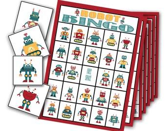 Robot Party Bingo Game, Robot Party, Robot Party Game, Robot Bingo, Robot Preschool Game, Robot Birthday Party, Robot Bingo, Robot Printable