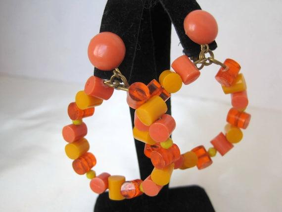 Orange  Retro Earrings, Signed Germany, Modernist Hoops, Lucite Dangle Clip Ons