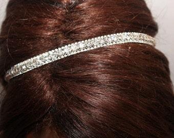rhinestone headband, wedding headband, wedding hairpiece, bridal headband, bridal headpiece, ribbon headband for bride