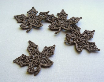 4 Crochet Leaf Appliques -- Chocolate Brown Maple Leaves