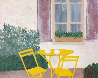 "Original Art  "" We will be back ""  Acrylic Painting by Joyce Dorsa  7"" x 9"""