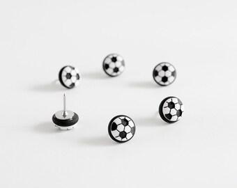 Soccer Ball Sports Push Pins, Map Pins. Futbol Fan Home Office Organization in Black Polymer Clay. FIFA Olympics Handmade Fun Gift Set of 6