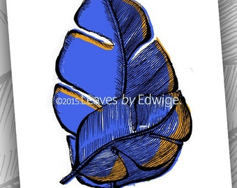 Blue Banana Leaf Print- Nature based Art 8x10 art print originally pen and ink drawing - archival quality - tropical print - hoja - feuille