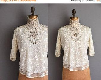 25% OFF SHOP SALE..//.. Very Rare 1910s antique heavy lace Edwardian blouse. antique lace blouse