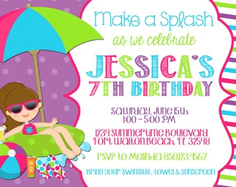Swimming Pool 5x7 Invitation - Girl Birthday Party - PRINTABLE