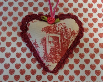 Angel Toile Fabric Heart Ornament by Pepperland