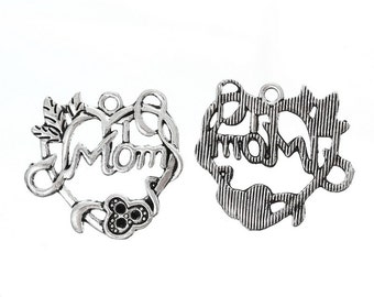 """10 Pieces Antique Silver """"Mom"""" Carved Hollow Heart Charms"""