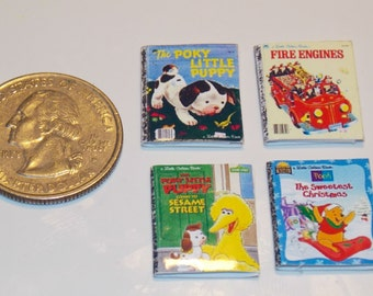 Dollhouse Miniature Children's Books Set of 4  1:12 24 & 48 scale one inch scale H16