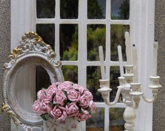 """Bouquet of Miniature paper Roses in the """"Shabby Chic"""" - 1/12 scale - accessory of doll Miniature home decor style"""