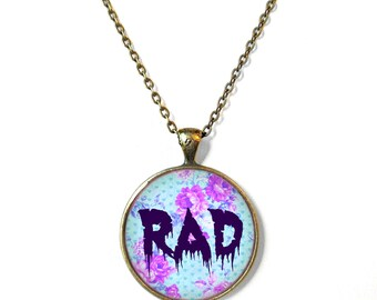 Nu Goth Floral Pastel Goth Drippy Spooky Cute RAD Necklace - Pop Culture Jewelry - Funny Soft Grunge Pendant